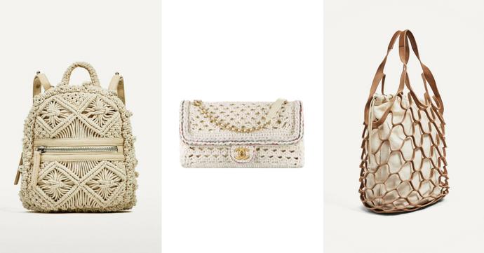 De gauche à droite  Sac à dos en crochet Zara, 39,95€, sac en crochet à  rabat Chanel, 4800€, shopper en croûte de cuir Zara, 49,95€ 22587089bde