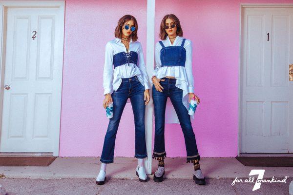 Les Djettes et soeur jumelles Simi & Haze pour 7 For All Mankind, pré-collection hiver 2017