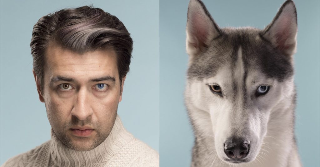 photo sosie homme et husky