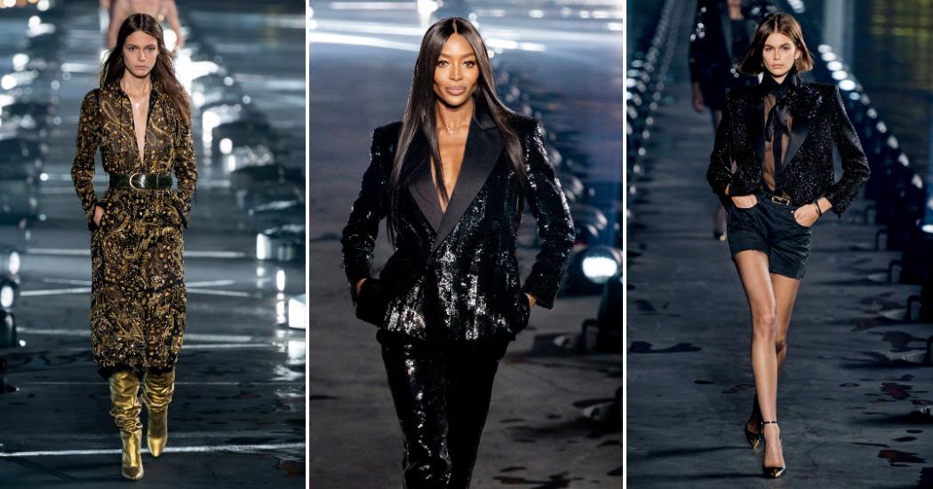 Paris Fashion Week : Naomi Campbell, la pluie, et tout ce qu'on a vu au défilé Saint Laurent printemps-été 2020