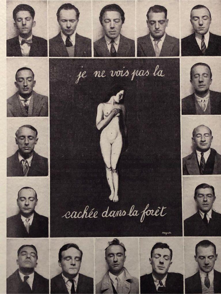 Magritte - montage de seize photos d'identité autour de la peinture je ne vois pas la femme cachée dans la foret