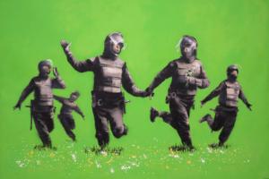 Beanfield van Banksy, 2009.
