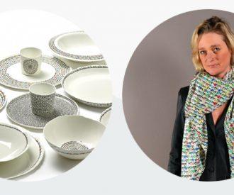 Love Goes Around van Delphine Boël op zijden sjaal en servies van Serax