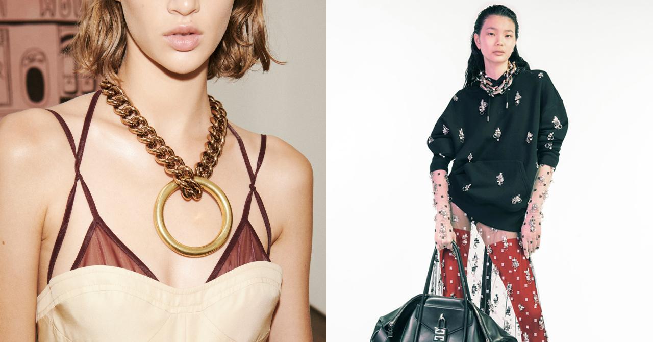 juwelen op de catwalk van Victoria Beckham en Givenchy